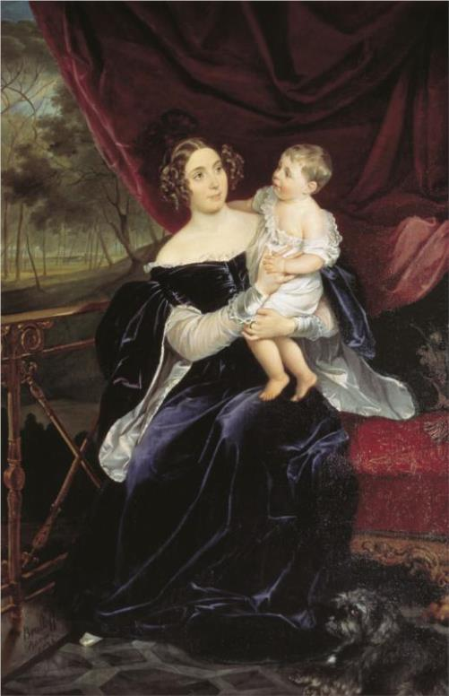 Olga Ivanovna Orlova-Davydova and her daughter Natalia. 1834