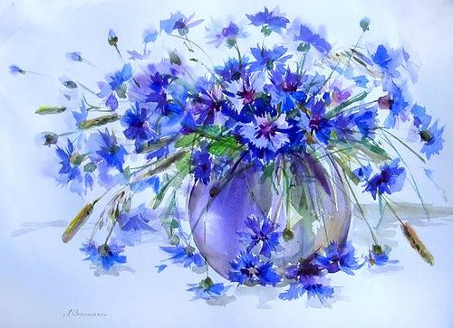 Cornflower in painting, artist Lyudmila Skripchenko