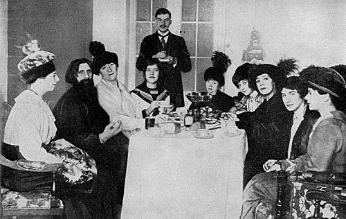 Matryona Rasputina, far right, with her father, Grigori, left, and her mother in the center, in 1914