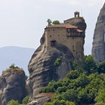 The Holy Monastery of Saint Nicholas Anapausas in Meteora, Greece, which was built in the 16th Century and decorated by the Cretan painter Theophanis Strelitzas in 1527