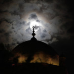 Mohamed Ali Mosque on the background of the full moon in Cairo, Egypt
