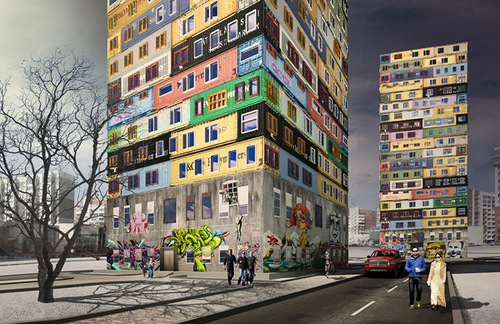 Multi-storey residential building made of containers