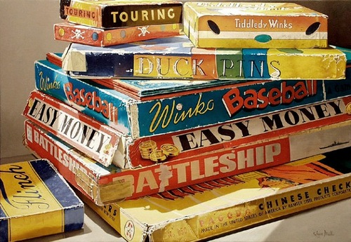 Boxes with video cassettes. Hyperrealistic Oil Paintings by American artist Steve Mills
