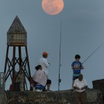 People go fishing near the port Ball in Florida against the background of the full moon.