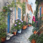 Cosy streets of European cities. Landscape oil painting by French artist Marie Claire