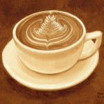 Coffee painting by American artist Karen Eland