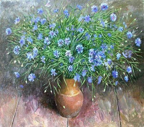 Cornflower in painting, artist Sergey Hudyakov
