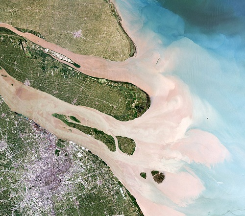 Shanghai, China: A satellite image shows the important sea port in the Shanghai and the Yangtze river estuary