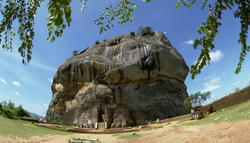 The ruins of the Sigiriya, or Lion's Rock, in the central Matale District of Sri Lanka, which was used as a monastery from around the 5th Century BC