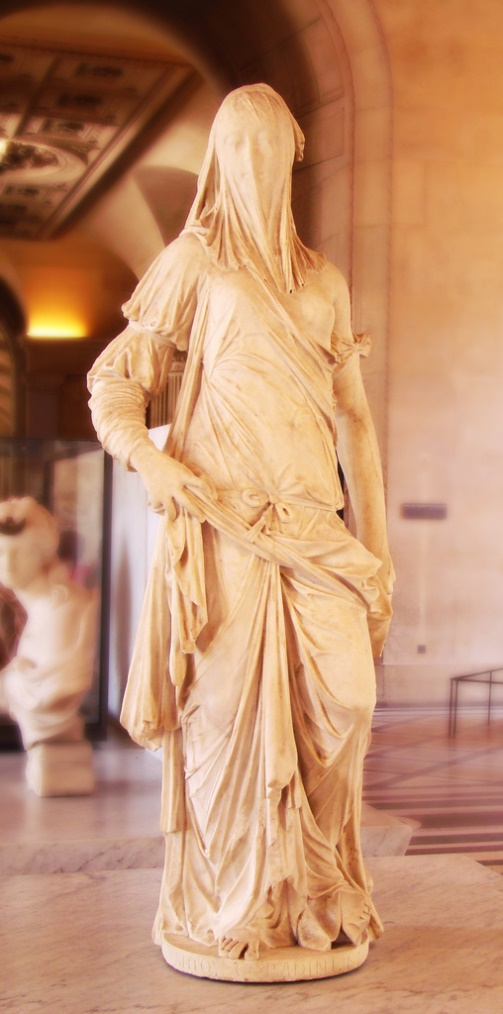Louvre in Paris and only about 138cm tall… The identity of the sculptor is unknown, as is the identity of the subject – a beautiful woman with her face veiled