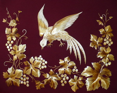 Decorative panel. Straw art by Russian artist Lydiya Retivskaya