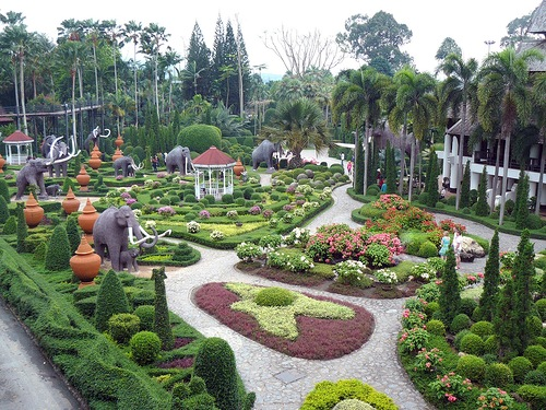 Beautiful man-made Nong Nooch Garden. Pattaya, Thailand