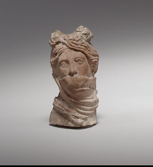terracotta head of a veiled woman. 2nd–1st century B.C. Culture – Greek, Cypriot