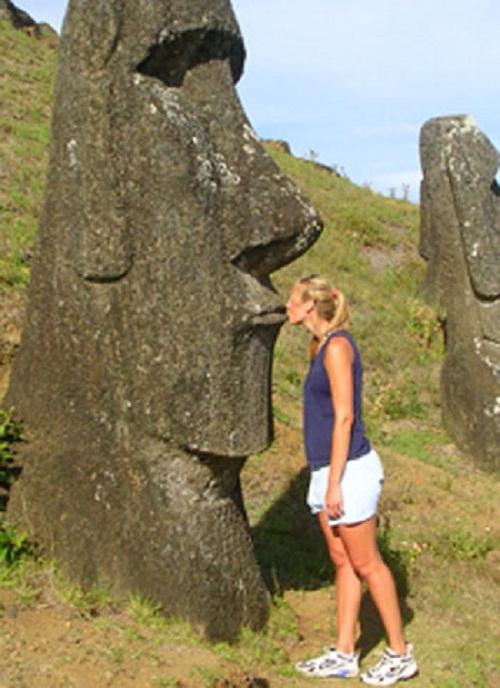 Mysterious figures on The Easter Island
