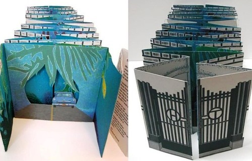 The books structure is a tunnel book, 200 cm long when fully opened