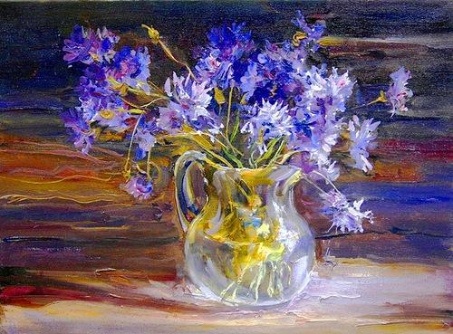 Cornflower in painting, artist Valeri Busygin