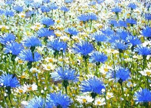 Cornflower in painting, artist Vladimir Piven
