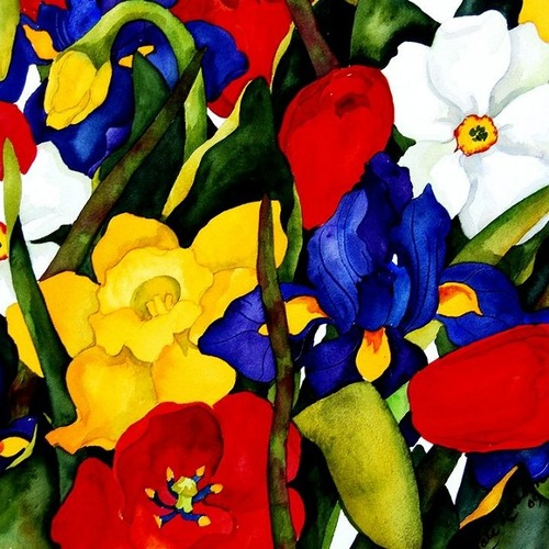 Garden flowers. Colorful painting by American watercolor artist Kate Larsson