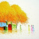 Colorful painting by Vietnamese artist Phan Thu Trang