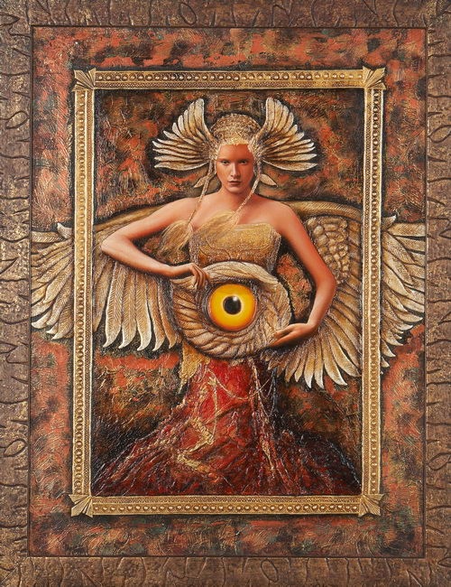 Winged woman with a glass mascot. Painting by Russian artist Sergey Kustarev