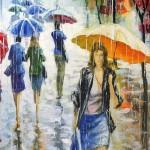 Autumn rain. Painting by Russian artist Stanislav Sidorov