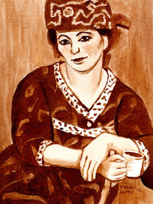 Coffee painting by American artist Karen Eland