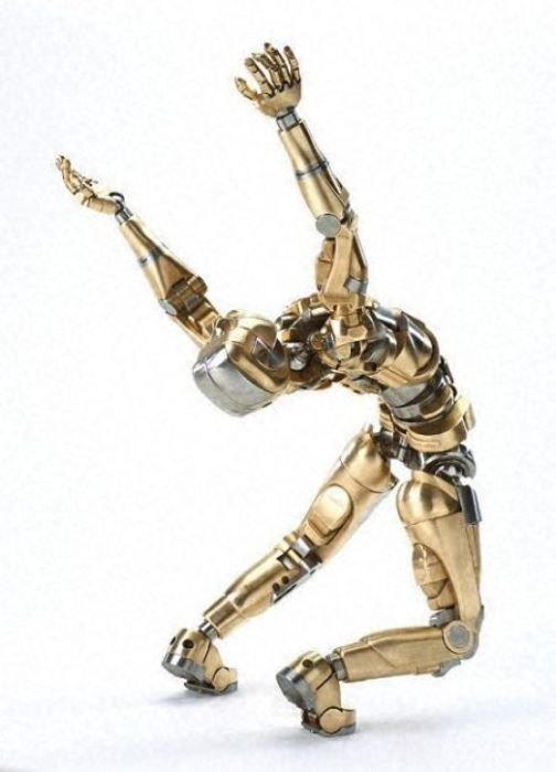 Mark Ho Animatronic human sculpture in bronze and stainless