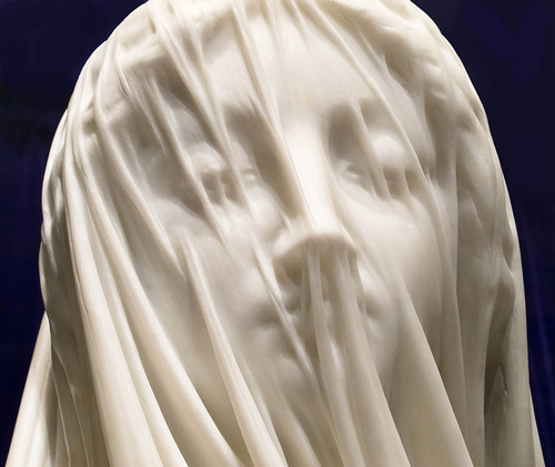 Blessed Virgin Mary in marble, by Strazza