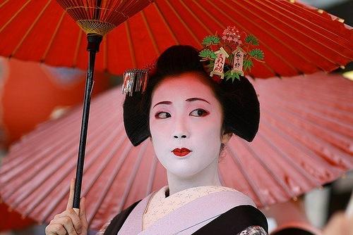 Traditionally, in kimono Maiko