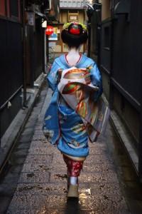 Walking along the street Maiko