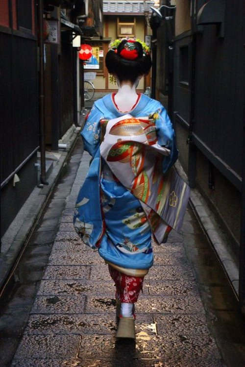 Walking along the street Maiko