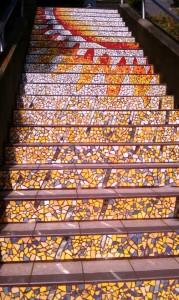 Colorful art by Irish ceramicist Aileen Barr and San Francisco mosaic artist Colette Crutcher