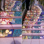 Colorful art by Irish ceramicist Aileen Barr and San Francisco mosaic artist Colette Crutcher