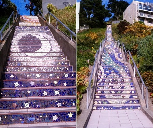Moon and stars. Art by Irish ceramicist Aileen Barr and San Francisco mosaic artist Colette Crutcher