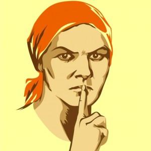 "A Soviet war poster ""Don't chat! Chatting leads to treason"" (1941). Artist Nina Vatolina"