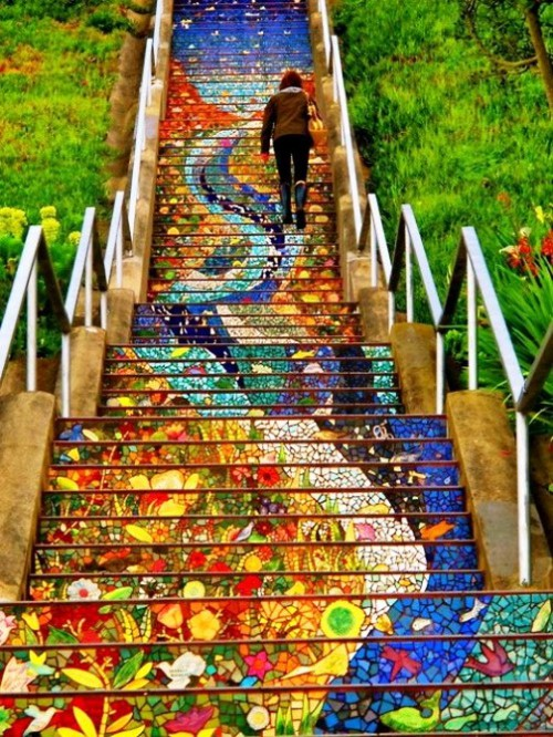 16th Avenue Tiled Steps. Colorful art by Irish ceramicist Aileen Barr and San Francisco mosaic artist Colette Crutcher
