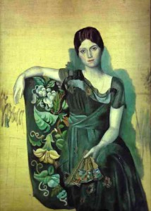 Portrait of Olga Khokhlova in an armchair