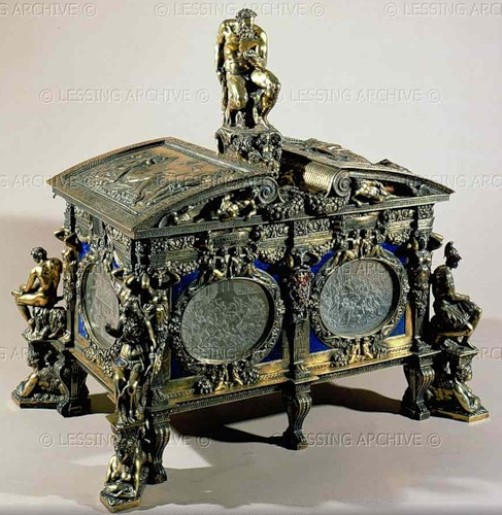 Cofanetto Farnese, gilded box of Cardinal Alessandro Farnese (ca. 1547-1590), with rock crystal plaques by Giovanni dei Bernardi (ca. 1534-1544).