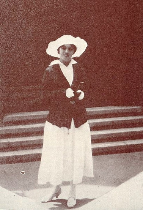 Khokhlova in a white hat