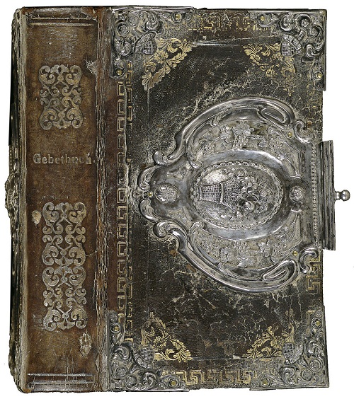 17th century copper-gilt and silver filigree book binding