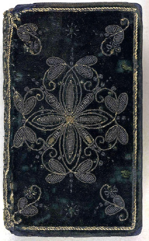 Velvet, 17th century embroidered book cover. (London, 1620)