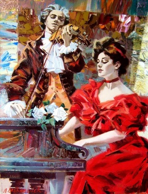 The Piano and the violin players. Romantic paintings by St. Petersburg based artist Alexey Lashkevich