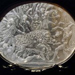 Cofanetto Farnese, gilded box of Cardinal Alessandro Farnese with rock crystal plaques by Giovanni dei Bernardi (between 1543-1544) Detail: Crystal plaque,boar hunt