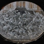 Cofanetto Farnese. Gilded box of Cardinal A. Farnese. Detail: Rock-crystal plaque with battle scene (ca. 1547-1561).