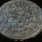 Cofanetto Farnese. Gilded box of Cardinal A. Farnese. Detail: Rock-crystal plaque with battle scene (ca. 1547-61). Plaques by Giovanni dei Bernardi (ca. 1543-1544).