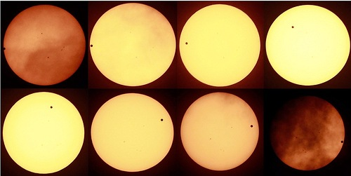 A composite sequence photo of the steps of the entire transit of Venus seen over the sky of Seoul, South Korea. 06 June 2012
