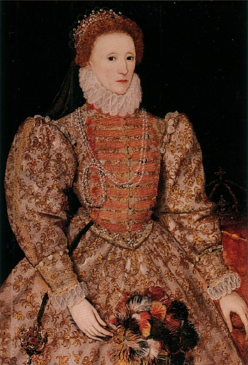A copy of the portrait of Elizabeth with the painting 'The Return of the Armada', ca. In 1590