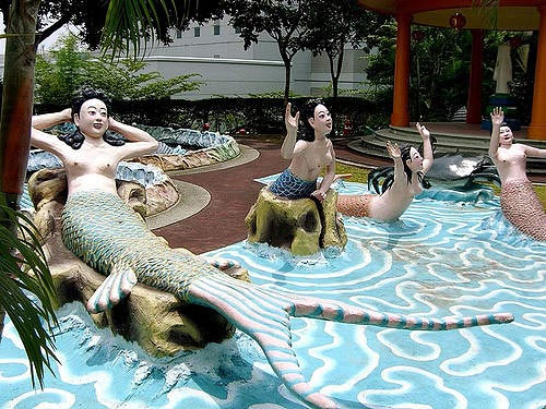 Asian mermaid statue