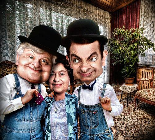 Benny Hill, Queen Elizabeth, Mr. Bean. caricatures by Riccardo Boscolo