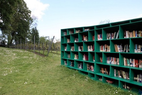 St. Peter's Abbey Vineyard. Bookyard installation by Italian artist Massimo Bartolini